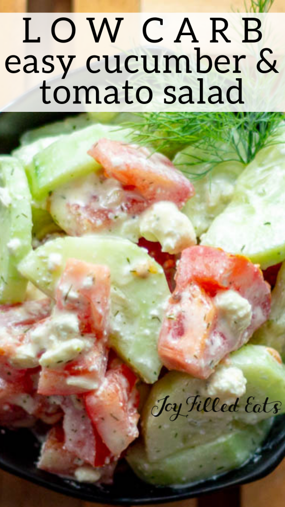 pinterest image for low carb cucumber and tomato salad