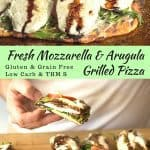 pinterest image for fresh mozzarella and arugula grilled pizza