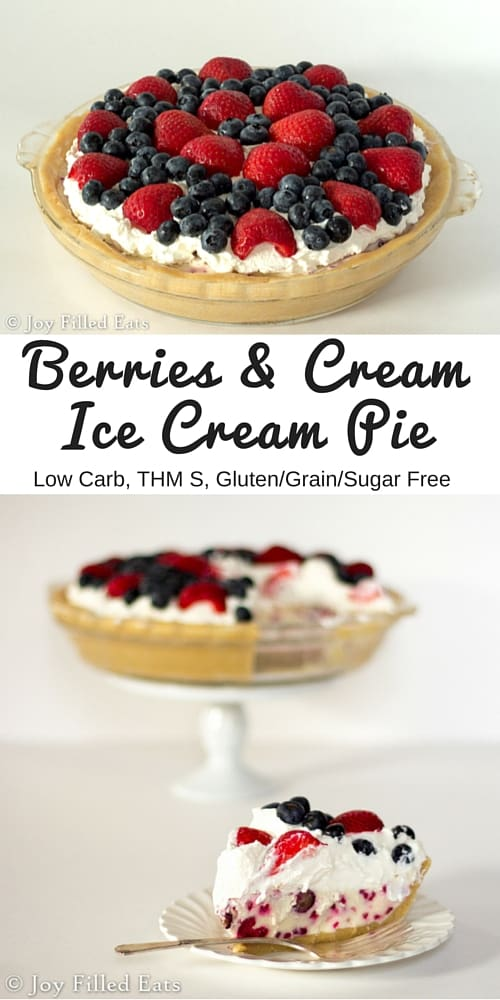 pinterest image for low carb berries and cream ice cream pie