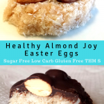 pinterest image for healthy almond joy Easter eggs