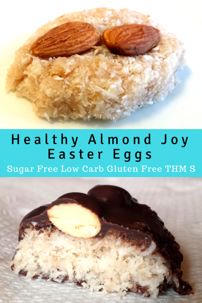 pinterest image for healthy almond joy Easter eggs