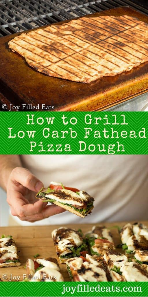 pinterest image for how to grill fathead low carb pizza dough