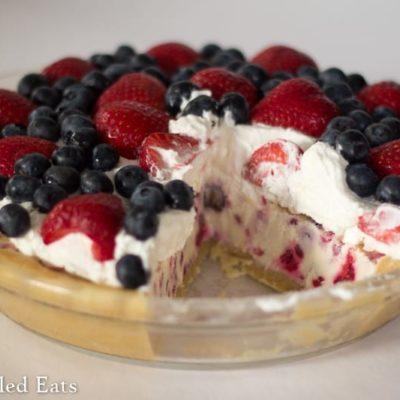 Low Carb Berries & Cream Ice Cream Pie