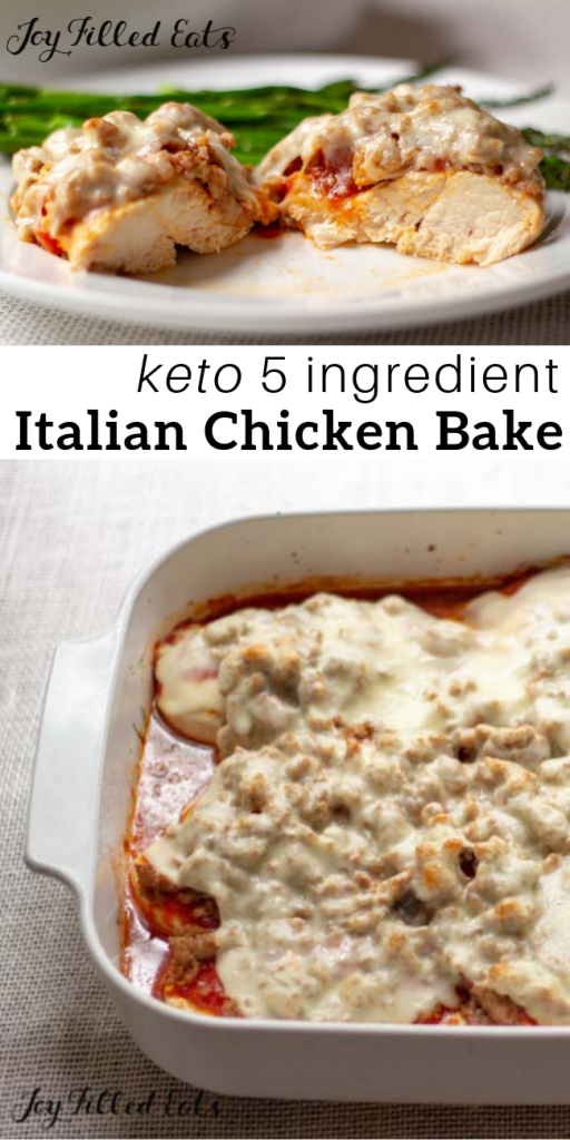 pinterest image for 5 ingredient keto Italian chicken bake