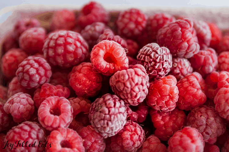 frozen raspberries up close