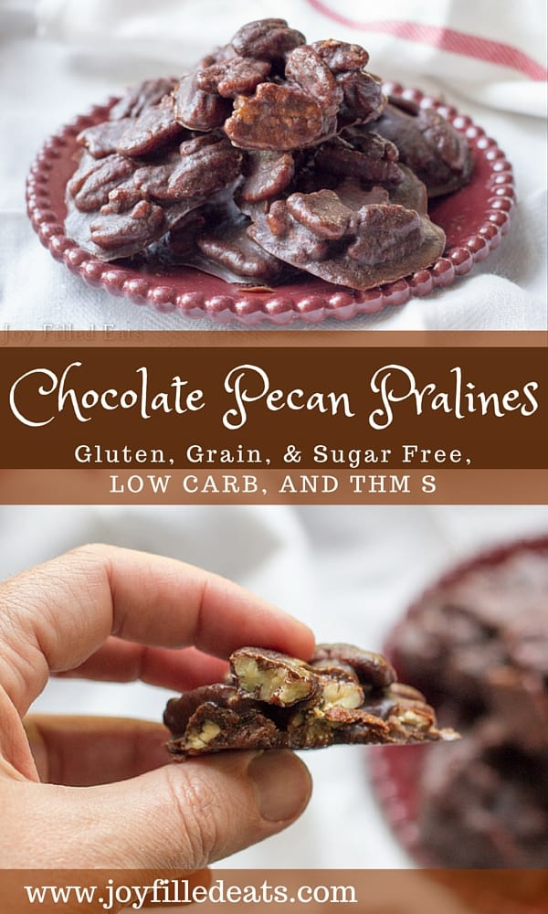 pinterest image for chocolate pecan pralines