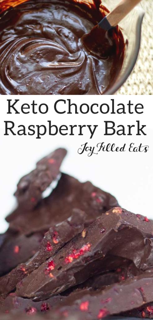 pinterest image for dark chocolate raspberry bark