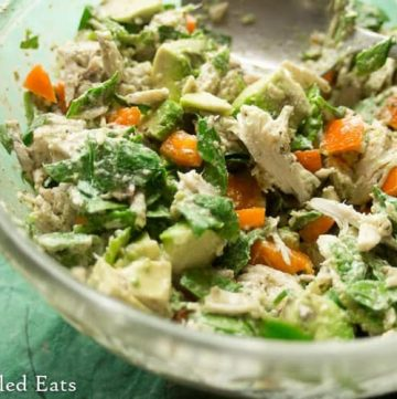 large bowl full of cilantro lime chicken salad