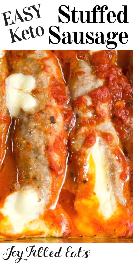 pinterest image for keto stuffed sausage