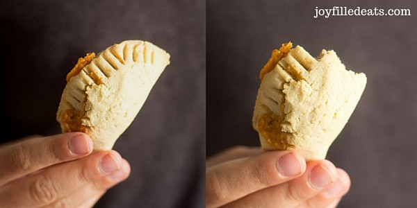 hand holding a gluten free taco empanada in two images, in one image a large bite is missing from the empanada