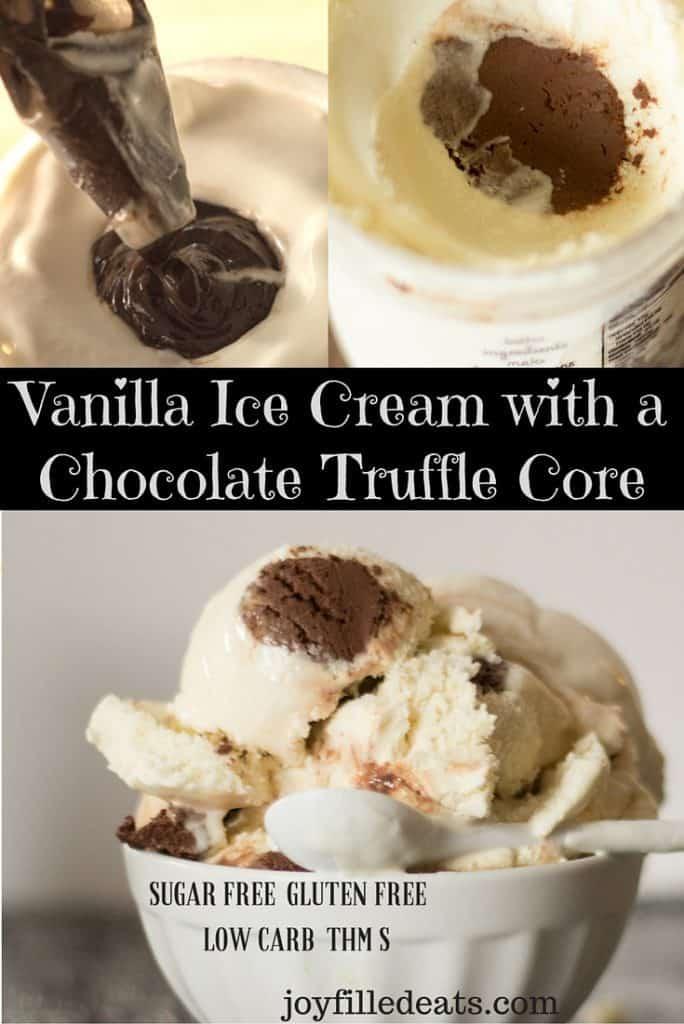 pinterest image for vanilla ice cream with chocolate truffle core