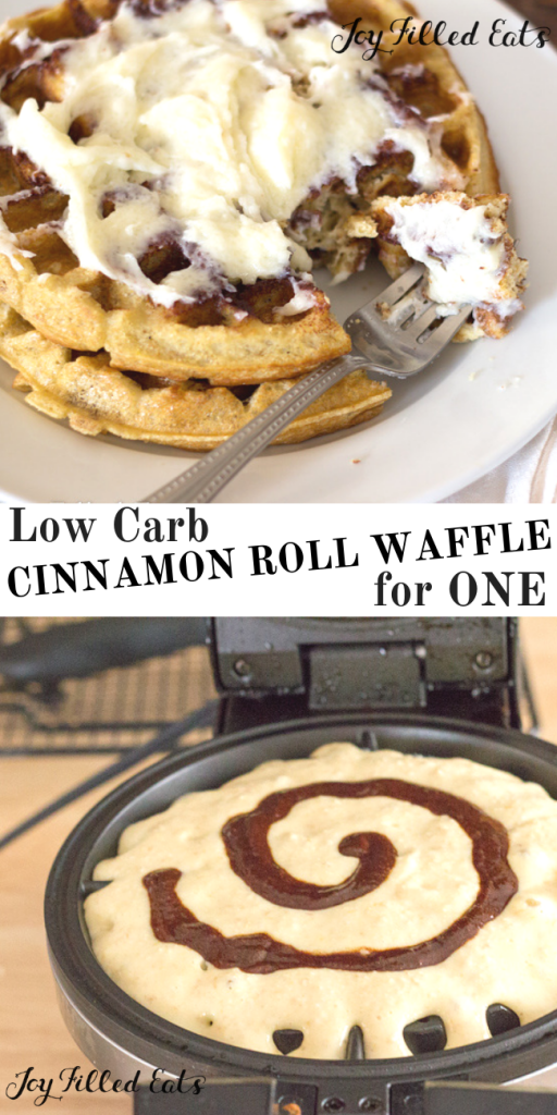 pinterest image for cinnamon roll waffle for one