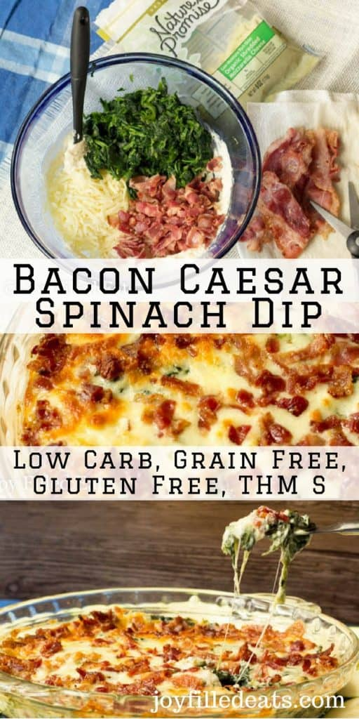 pinterest image for bacon Caesar spinach dip