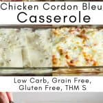 pinterest image for chicken cordon bleu casserole