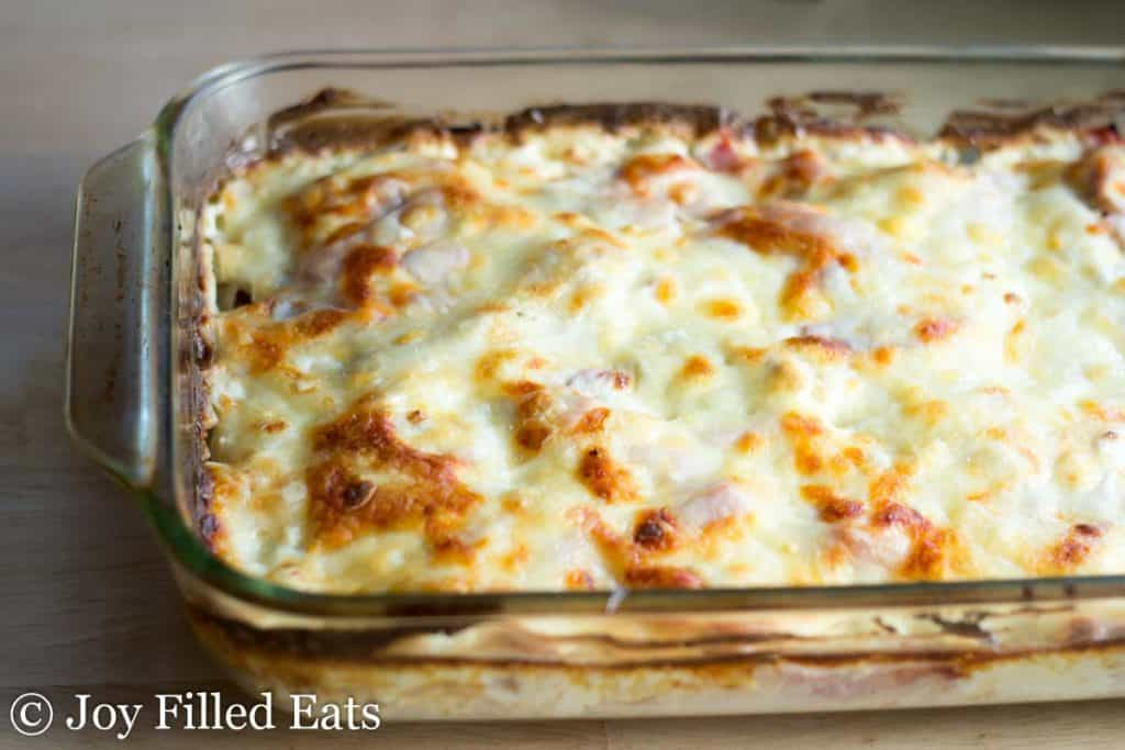 chicken cordon bleu casserole in a baking dish