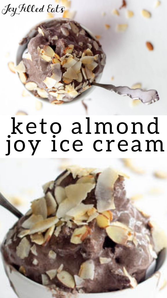 pinterest image for keto almond joy ice cream