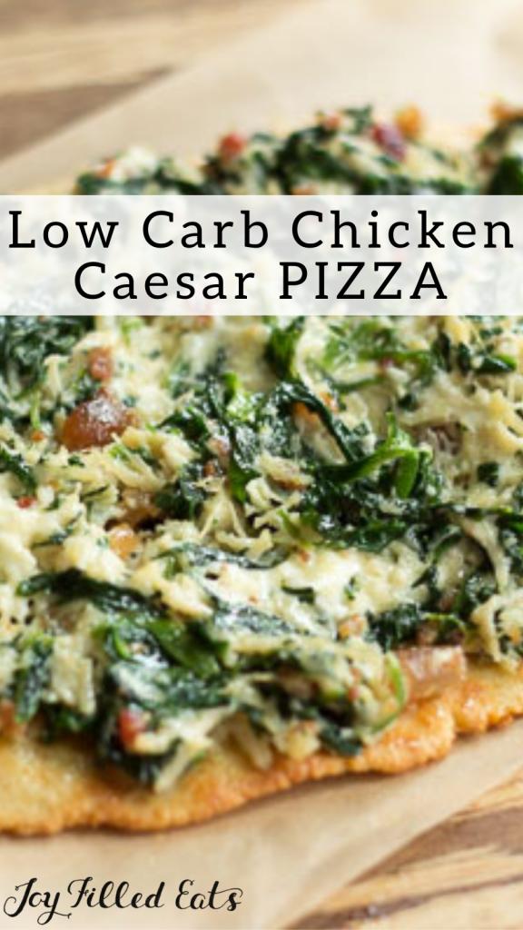 pinterest image for keto chicken Caesar pizza