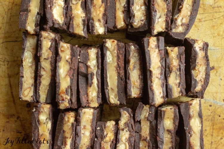 close up of the keto toffee candy