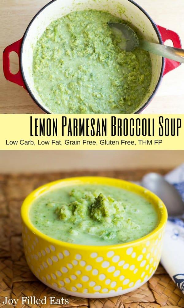 pinterest image for lemon Parmesan broccoli soup