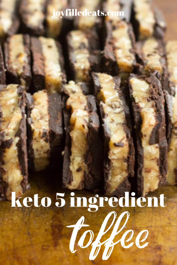 pinterest image for 5 ingredient keto toffee