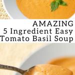 pinterest image for 5 ingredient tomato basil soup