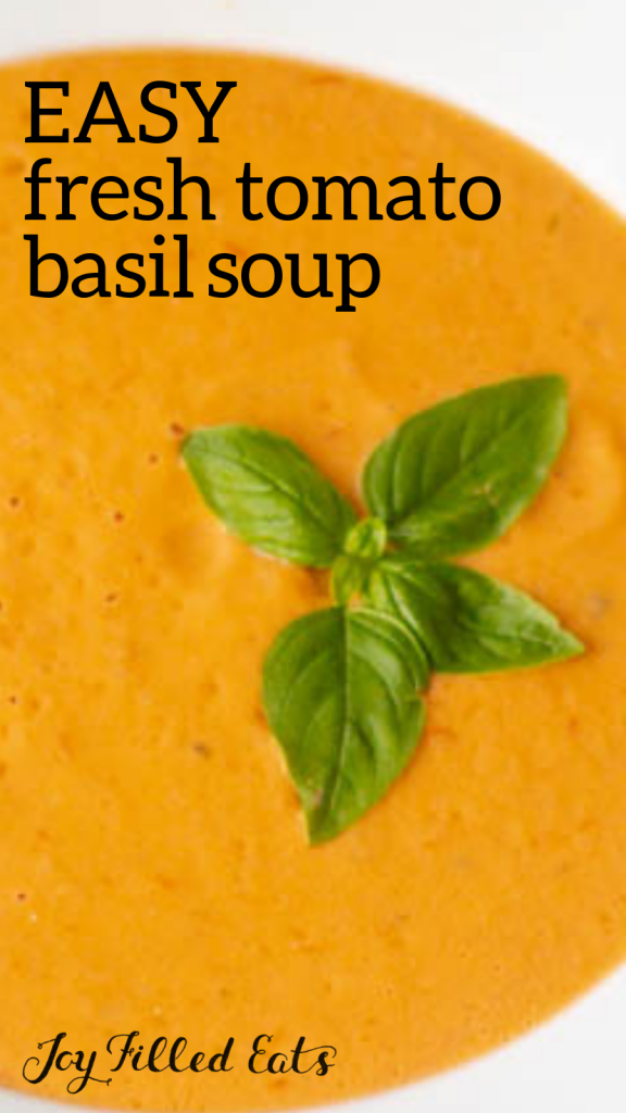 pinterest image for 5 ingredient tomato basil soup