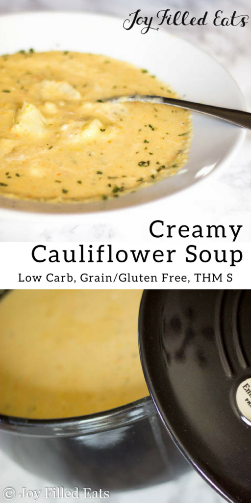 pinterest image for creamy cauliflower soup