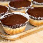 tagalong cupcakes lined on a baking sheet