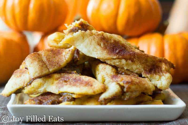 Keto Pumpkin Pie Twists on a white plate