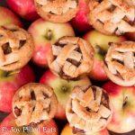 overhead view of apple pie cookies arranged on apples