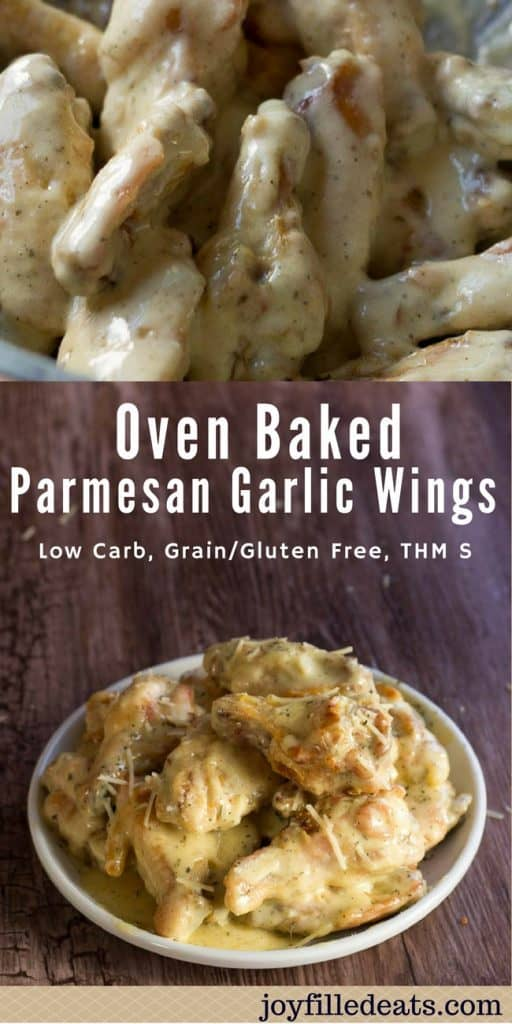 pinterest image for oven baked parmesan garlic wings