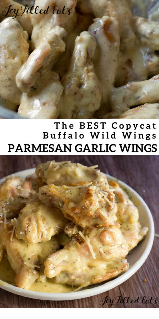 pinterest image of copycat buffalo wild wings Parmesan garlic wings