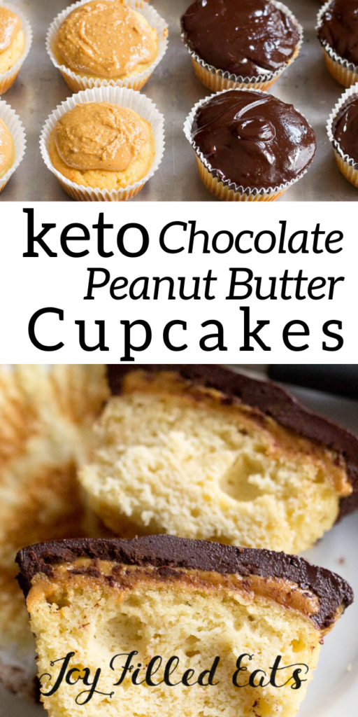 pinterest image for chocolate peanut butter cupcakes