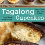 pinterest image for tagalong cupcakes