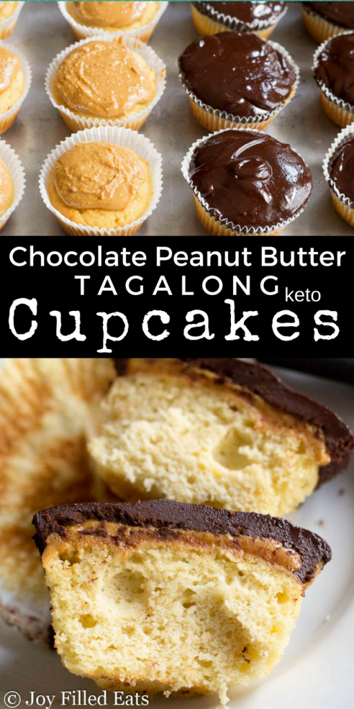 pinterest image for keto chocolate peanut butter tagalong cupcakes