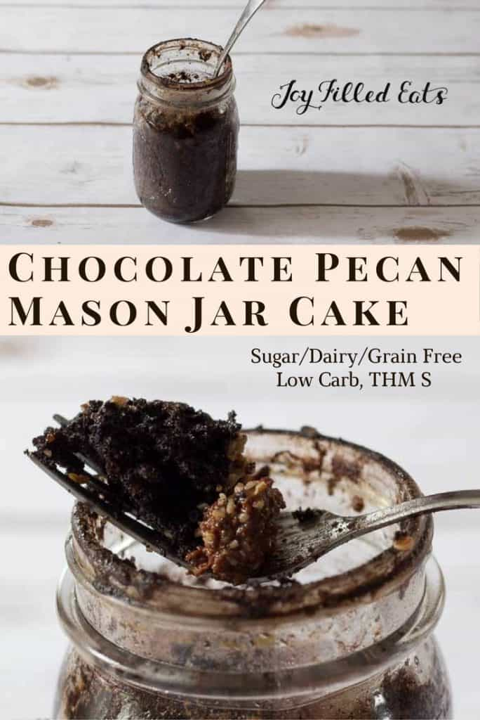 pinterest image for chocolate pecan mason jar cake
