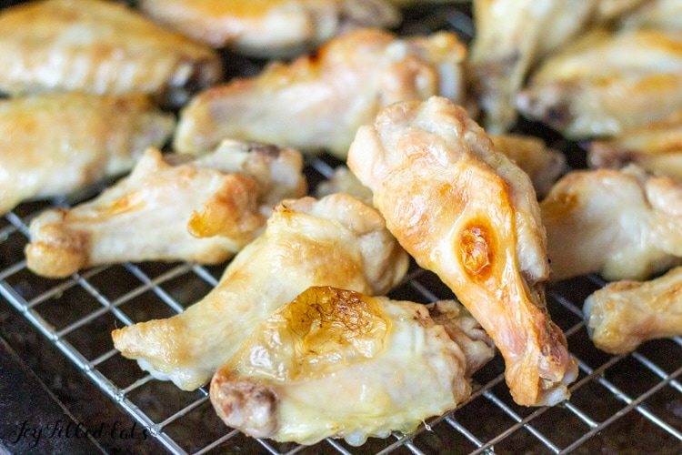 oven baked chicken wings on a cooling rack