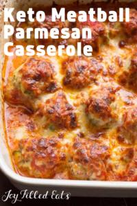 pinterest image for keto meatball parmesan casserole