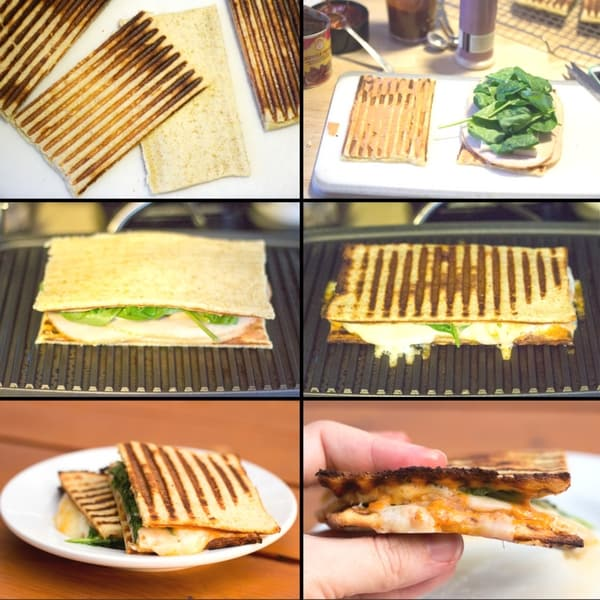 collage of images displaying the assembly of a turkey chipotle and pepperoni panini