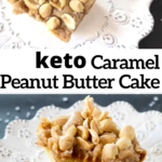 pinterest image for peanut butter cake with caramel icing