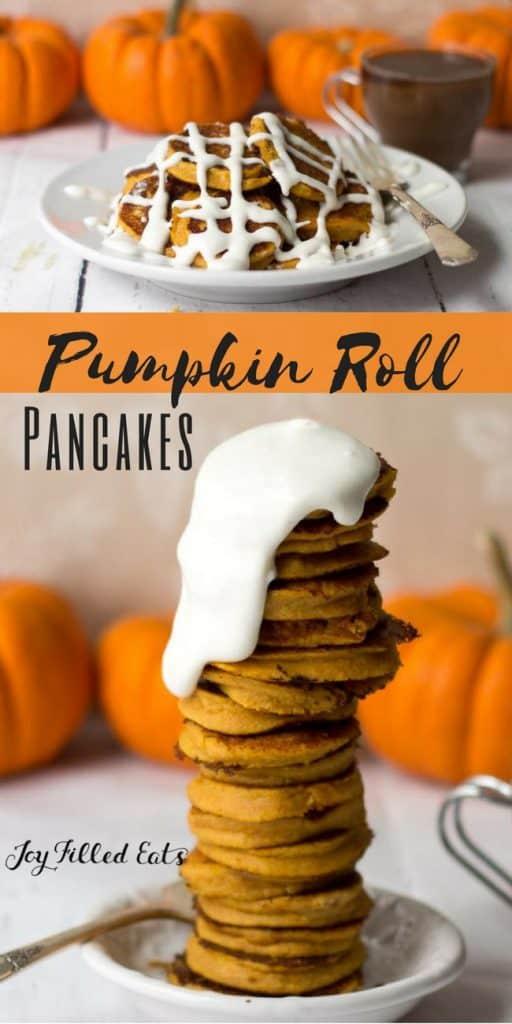pinterest image for keto pumpkin roll pancakes