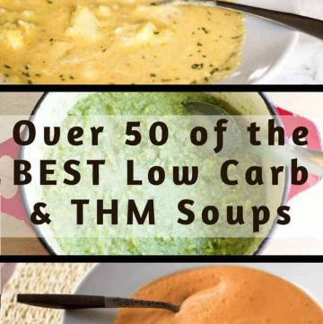 pinterest image for over 50 low carb soups