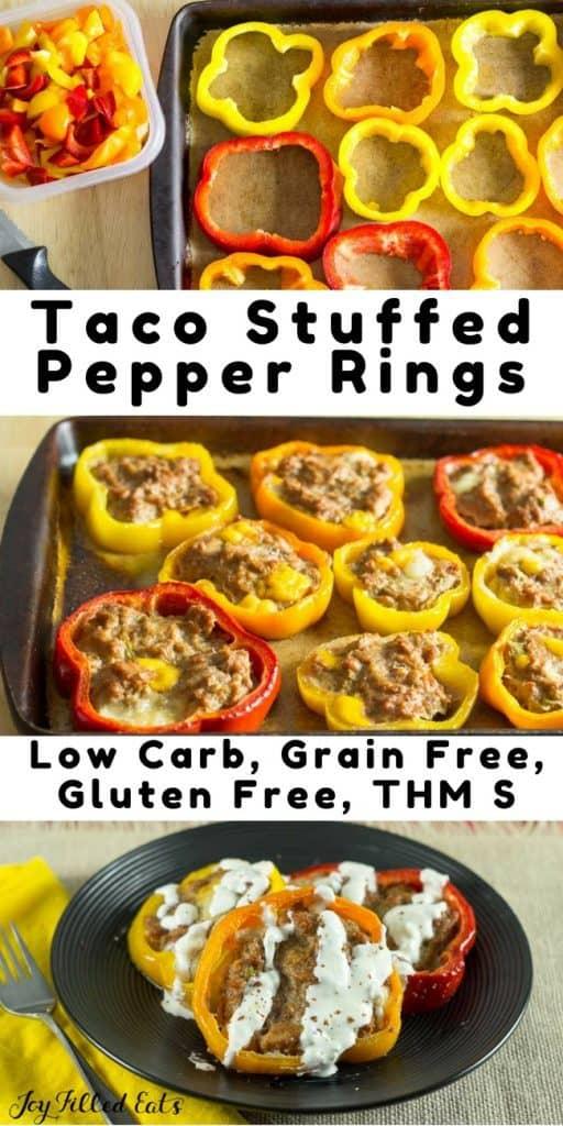 pinterest image for taco stuffed pepper rings