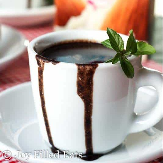 crock pot peppermint hot chocolate dripping over the sides of a small white mug and garnished with mint leaves