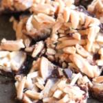 pinterest image for keto chocolate almond brittle bark