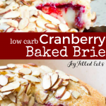 pinterest image for low carb cranberry baked brie