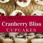 pinterest image for cranberry bliss cupcakes