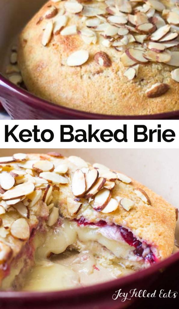 pinterest image for keto cranberry baked brie