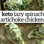 pinterest image for lazy spinach artichoke chicken breasts