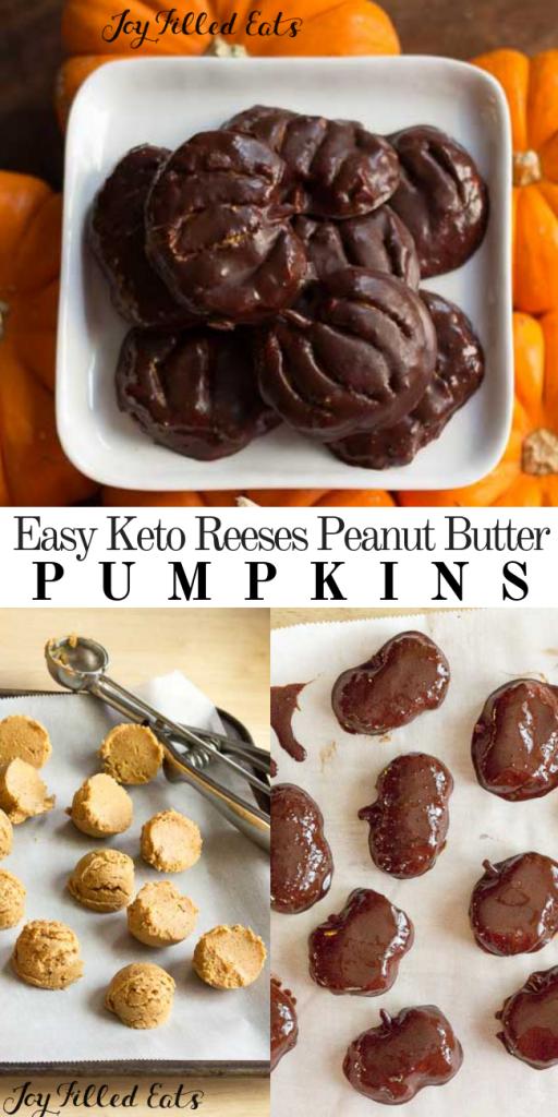 pinterest image for keto sugar-free peanut butter pumpkins